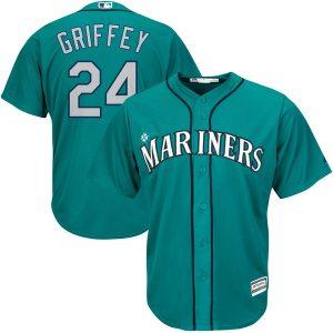 Seattle Mariners 24 Ken Griffey Jr. Majestic Green Alternate Cool Base mlb Jersey